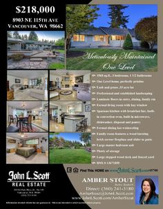 Sat & Sun Open House: $218,000! Three Bedroom, 1.5 Bath Meticulously Maintained One Level Home on .33 AL in Vancouver, WA!