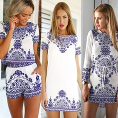 Cheap Dresses, Buy Directly from China Suppliers:			  	2015 Vestido De Festa Women Dresses Plus Size China Element Pattern Short Sleeve Mini Club Party Dress 2 Piec