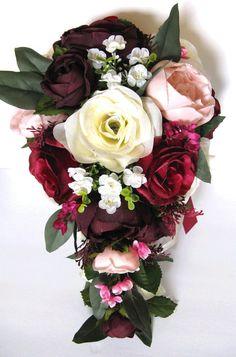 17 piece Wedding Bouquet set Bridal Bouquet package BURGUNDY BLUSH EGGPLANT Pink Silk Wedding flower Red Bridesmaid Bouquets, Bride Bouquets, Bridesmaids, Cascade Bouquet, Rose Bouquet, Cool Wedding Cakes, Wedding Cake Toppers, Wedding Arbors, Fall Wedding Hairstyles