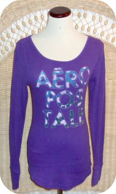 AEROPOSTALE Womens Top Size L Purple Blue Long Sleeve Cotton Polyester  #Areopostale #KnitTop #CareerCasual