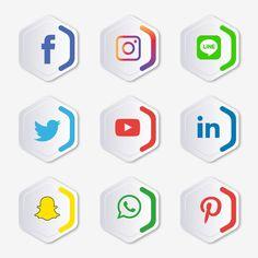 Social media icons set Logo Vector Illustrator Vector and PNG Street Marketing, Internet Marketing Seo, Design Stand, Icon Design, Design Design, Web Banner Design, Social Media Icons, Social Media Graphics, Social Media Strategy Plan