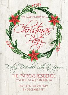christmas invitation christmas invite holiday by pipetua on etsy