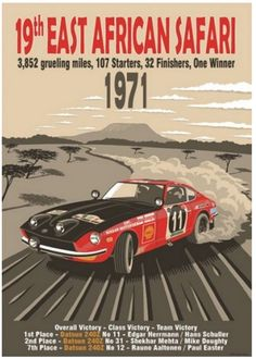 19th East African Safari, Datsun 240Z – Period style Race Posters based on real events with imagined scenes by Motoring Artist Simon May.