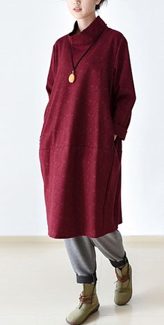 a6a9b43f6fd6e Burgundy plus size dress turtle neck cotton dresses