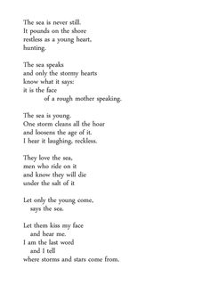 young sea by carl sandburg Selections from chicago poems by carl sandburg (1916)  carl sandburg young sea the sea is never still it pounds on the shore restless as a young heart.