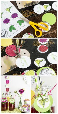 tähän tyyliin voisi helposti tehdä itse koristeita muumikankaista! jokaisessa palassa voisi olla eri muumihahmo! :)