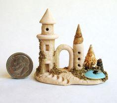 Handmade Miniature SAND CASTLE & SEASHELL SCENE  - OOAK by C. Rohal #CRohal
