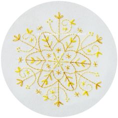 Gold Snowflake Embroidery Pattern PDF Christmas Winter