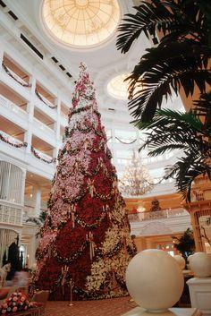 Towering Poinsettia Tree at Disney's Grand Floridian Resort & Spa in 1992