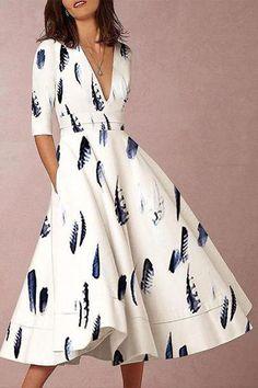 aff0f2fe4f Sexy Elegant Deep V Collar Feather Floral Printed Skater Dress -Chicokay  Dress Brands