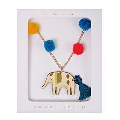 Pom Pom Elephant Necklace