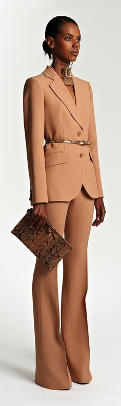 Michael Kors Resort 2014...Wow I love this look of a power suit with a nice pop of the belt/clutch!
