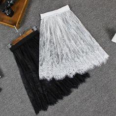 Women Full Slip Lace Hem Skirt Extender Knee Length Dress Extender A Line Skirt Diy Lace Skirt, Dress Extender Slip, Diy Lace Shirt Extender, Lace Slip, A Line Skirts, Clothes For Women, Jeans, Black White, Color Black