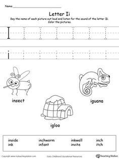 **FREE** Words Starting With Letter I Worksheet. Teach the beginning letter sound by saying the name of each picture and then allow your child to trace the uppercase and lowercase letter I in this printable activity worksheet.