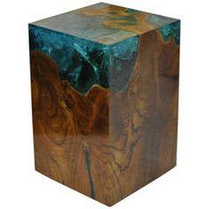 Modern Fractal Resin and Teak Stool or Side Table