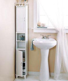 Tall Shabby Chic Storage Cabinet White Space Saver Bathroom Linen Closet NEW!