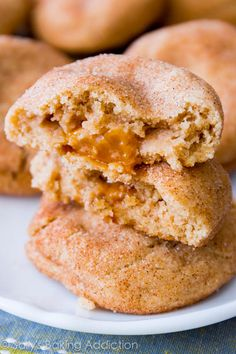 Chewy Caramel Surprise Snickerdoodle Cookies - with gooey caramel inside! No mixer required.