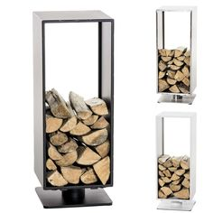 Firewood Shelf BASIL Stainless Steel Stove Log Holder Fireplace Rack Storage NEW
