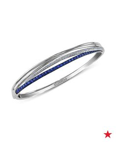 Love a good arm stack? Wear this EFFY sapphire and diamond bangle for an eye-catching effect of multiple bracelets in one.
