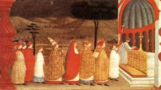 Paolo Uccello >> Miracle of the Desecrated Host (Scene 3); I don't know why, but the background appeals to me.  It has a Mediterranean landscape quality, despite the story supposedly taking place in Paris.