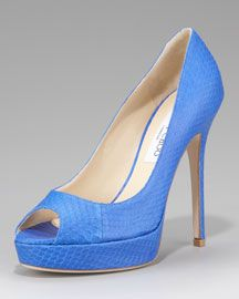Jimmy Choo Crown Snakeskin Platform Pump. Isn't this a great shade of blue?Perfect pop of color. #LoveIt