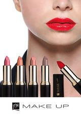 FM Group Lipsticks:    Oligopeptides included in the lipstick remodel the shape of lips giving them a tempting look. With a rich blend of waxes, oils and nourishing & moisturizing substances, they provide an adequate oiling for the lips, preventing them from chapping and cracking.