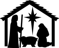 Mary & Joseph kneeling with Manger and stars Christmas Vinyl Decal ...