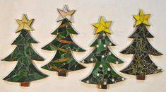 """Mosaic Christmas Trees, 17"""" x 9"""", $75"""