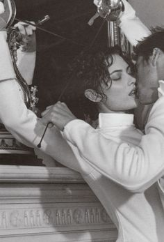 "deseased: """" shalom harlow and marc vanderloo photographed by bruce weber for versace f/w 1996 "" "" Louis Aragon, Revolutionary Girl Utena, Shalom Harlow, Black And White Couples, Bruce Weber, Sophia Loren, Hopeless Romantic, Hollywood Glamour, Couple Photography"