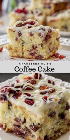 This Cranberry Bliss Coffee Cake Recipe a delicious coffee cake loaded with cranberries, white chocolate, and a cream cheese frosting. A delicious, soft coffee cake with cranberries. Cupcake Recipes, Baking Recipes, Cookie Recipes, Cupcake Cakes, Dessert Recipes, White Cake Recipes, Cupcakes, Just Desserts, Delicious Desserts