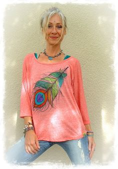 PEACOCK FEATHER top Gypsy Loose top Hand painted clothes by GPyoga