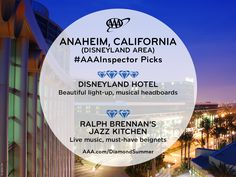 Discover AAA inspectors' favorite places to stay and dine in the top 10 destinations for summer 2018 based on AAA travel bookings. Top 10 Destinations, Disneyland Hotel, Beautiful Lights, Summer Travel, Summertime, National Parks, California, Restaurant, Vacation