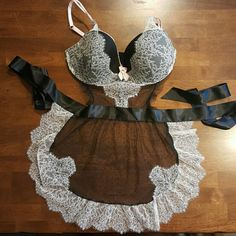 NWOT Victoria's Secret French maid lingerie Victoria's Secret new w/out tags size 36D. Light pink straps and bow detailing. Apron shape. Please ask any questions and use the offer option Victoria's Secret Intimates & Sleepwear Chemises & Slips