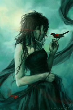 omg. If that was a magpie, this would be Cwen. [Black Bride by Lauren K. Cannon #digital art]