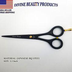Professional Barber Salon Scissor Cutting Hairdressing Shear Black Matte 5.5inch #DivineBeauty