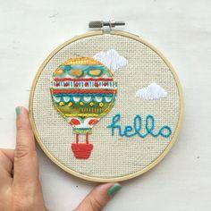 Hot air balloon - embroidered hoop art - embroidery - hoop art - nursery decor