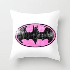 Pink Batman Symbol Throw Pillow....hehe...this is perfect for someone...or his special girl!