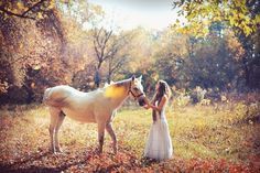 Woman and horse with lovely fall colors
