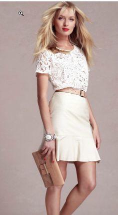 Lace top, flounce skirt anntaylor.com