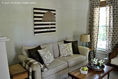 slatted wood and craft paint.  one of a kind diy artwork.  so cute.