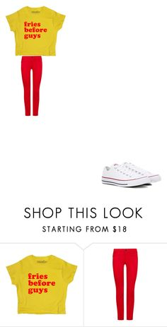 """fries before guys"" by bvby-bre ❤ liked on Polyvore featuring AG Adriano Goldschmied and Converse"