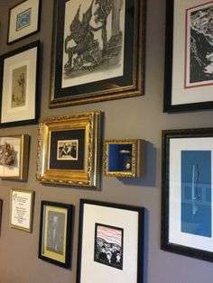 An eclectic collection of artwork, beautifully framed, occupies a full wall in our client's guest bedroom. It took a day to complete and it's stunning! Wake Up, Basement, Gallery Wall, Decorating, Bedroom, Frame, Artwork, Collection, Home Decor