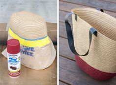 Take all your summer essentials with you in this easy DIY painted tote! All you need is a can of spray paint and a little tape. Click through for full instructions from Carrie of Dream Green DIY.    @dreamgreendiy