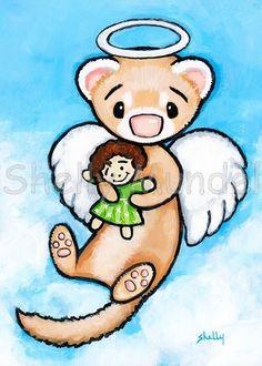 Ferret Art ACEO print Angel of Dollies Shelly by ShellyMundelArt