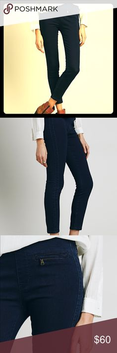 Free People Tuxedo Jeggings/ Jean Leggings Super soft and stretchy jean leggings with tonal tux stripes. Flat front featuring zipper detailing and back pockets. Pockets are real and functional. Elasticized waistband makes it super comfortable for all day wear or even as maternity pants. Like new condition, no flaws. As always, open to offers. Free People Jeans