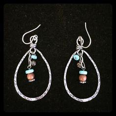 Silpada Earrings Silpada sterling silver with turquoise and wood beads hoop earrings. Silpada Jewelry Earrings