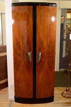 Vintage French Art Deco Armoire with Black Lacquered Trim, c 1930's.