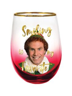 Smiling is my Favorite Stemless Glass by Spoontiques Iconic Characters, Wine Glass, Elf, Cheer, Smile, My Favorite Things, Drinks, Holiday, Funny