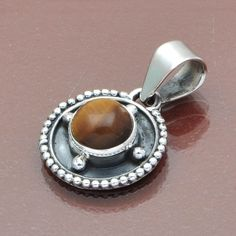 HOT 925 STERLING SILVER GEMSTONE YELLOW TIGER EYE PENDANT 3.26g DJP6458 #Handmade #Pendant