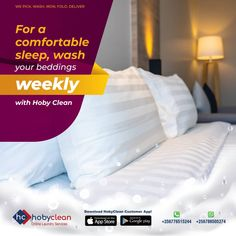 The comfort of your rest as you reset your body and mind for the next day comes from laying on fresh bedsheets. Let HobyClean pick them, Wash, Iron and deliver them back at the end of every week. Get in touch👉+256788505274/+256758858571 or 🔗www.hobyclean.com #Hobyclean #stains #stainremoval #laundry #laundryservice #laundryday #laundrykiloan #laundrycoin #laundryekspress #laundryroom #laundrytime #coinlaundry #speedqueen #laundrysatuan #carpetcleaning #dirtyclothes #vendorapp #SignUp #forfree Online Laundry, Coin Laundry, Laundry Service, How To Clean Carpet, Bed Pillows, Rest, Stains, Iron, Let It Be